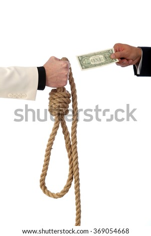 Dollar banknote in gallows noose isolated on white background