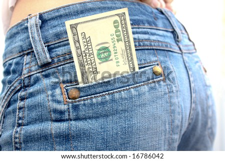 Dollar banknote in jeans pocket