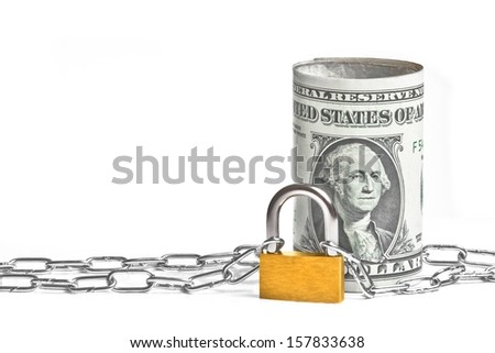 dollar banknote rolled near lock security and chain on white background with space for text - stock photo