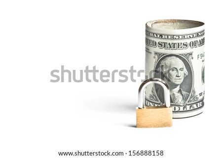 dollar banknote rolled near lock security on white background with space for text - stock photo