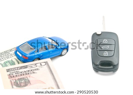 dollar banknotes, blue car and car keys on white - stock photo