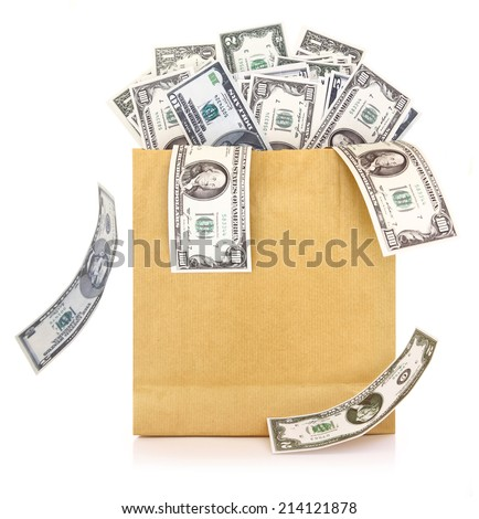 Dollar banknotes coming out of a paper bag on white background - stock photo