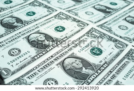 Dollar banknotes 1 Dollar currency of the United States useful as a background - stock photo