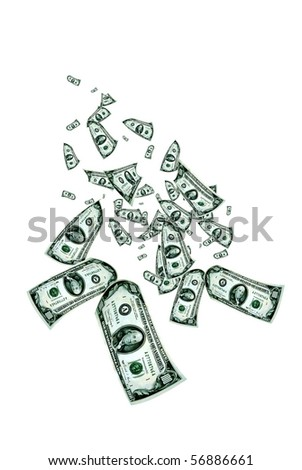 dollar banknotes flying over  white background