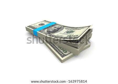 dollar banknotes heap, over white background