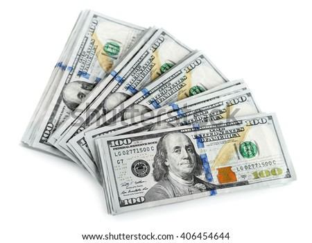 Dollar banknotes isolated on white - stock photo