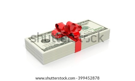 Dollar banknotes of 100 stack with red ribbon, isolated on white background, 3d rendering
