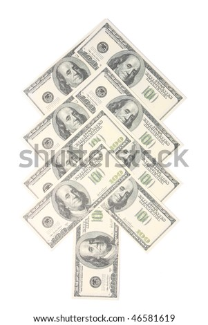 Dollar banknotes on white background