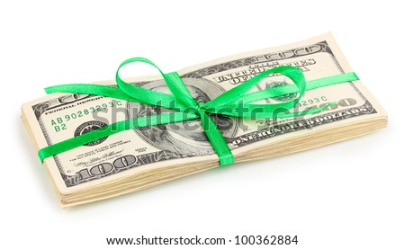 Dollar banknotes tied with ribbon isolated on white