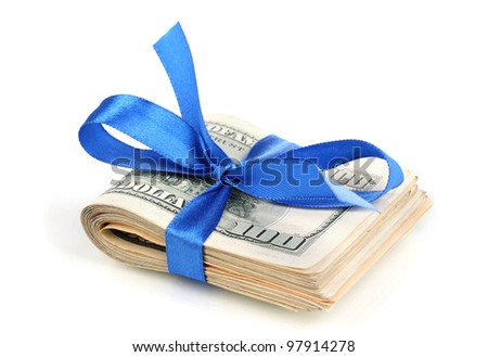 Dollar banknotes tied with ribbon isolated on white - stock photo