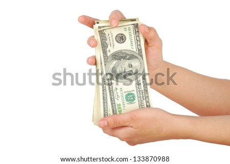dollar banks note money in the hand - stock photo