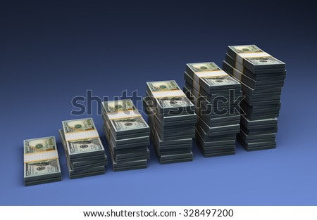 Dollar Bar Graph - stock photo
