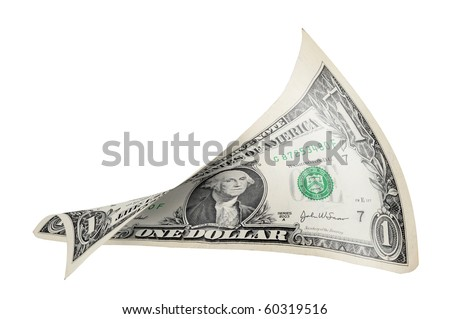 Dollar bill all twisted and stretched. - stock photo
