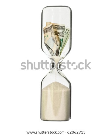 Dollar bill in hour glass - recession or financial loss concept - stock photo