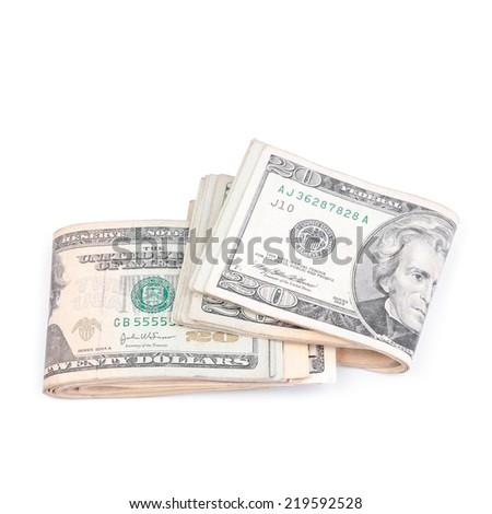 Dollar bill on white background.