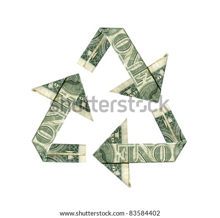 Dollar bill recycle symbol isolated on white - stock photo