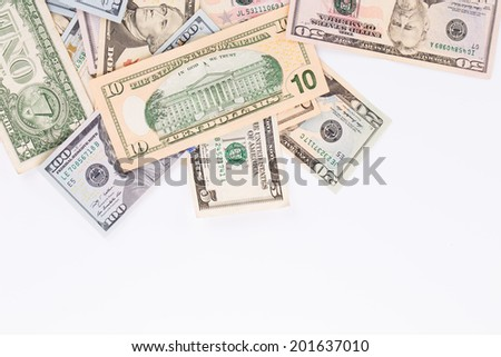 Dollar Bills. Close up. Whole background. Place for text.