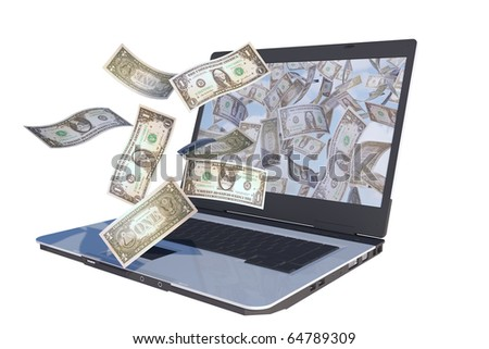 dollar bills flying out laptop screen - stock photo
