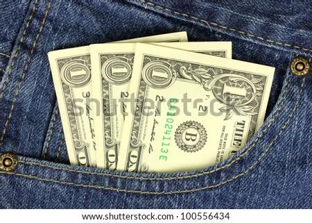 Dollar bills in the pocket - stock photo