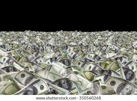 Dollar bills on the black background - stock photo