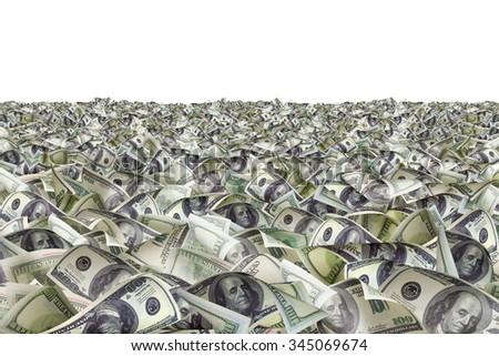Dollar bills on the ground - stock photo