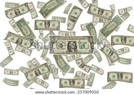 dollar bills on white background