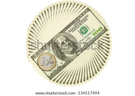 Dollar bills outlined circle on a white background - stock photo