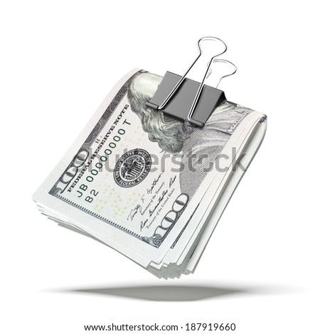 Dollar bills with black clip - stock photo