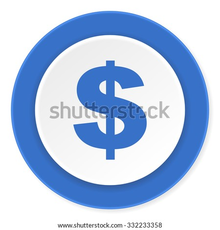 dollar blue circle 3d modern design flat icon on white background