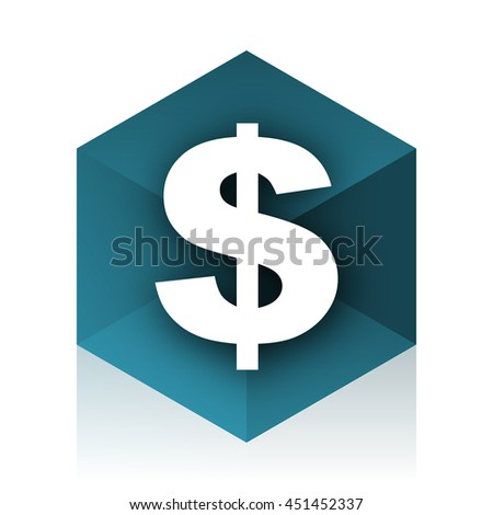 dollar blue cube icon, modern design web element