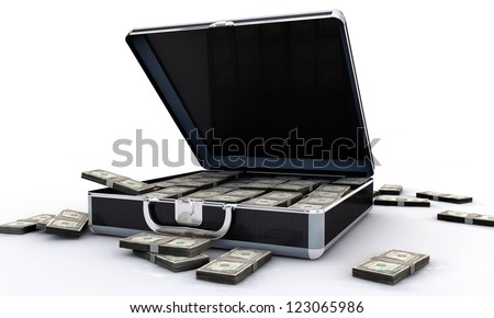 dollar briefcase isolated on white background