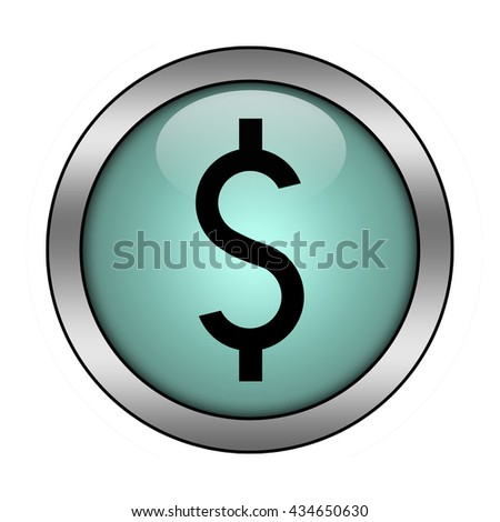 dollar button isolated - stock photo