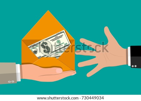 Dollar cash in envelope in hand. Prize, money payroll, income. Send money. Hidden wages, salaries black payments, tax evasion. illustration in flat style