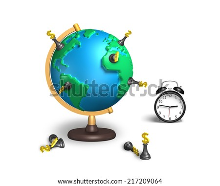 dollar chess stand on 3d map terrestrial globe with alarm clock isolated on white - stock photo