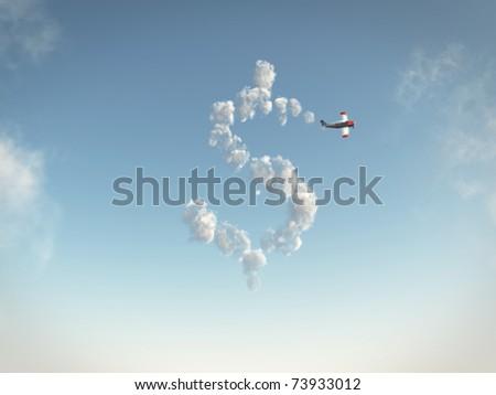 Dollar cloud - stock photo