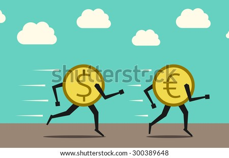 Dollar coin chasing and overtaking euro coin - stock photo