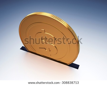 Dollar coin. Concept of savings. 3d render illustration