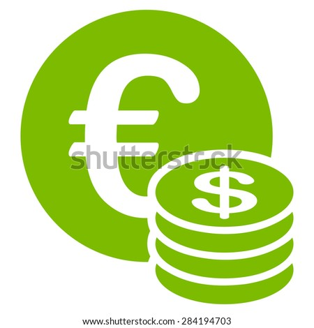 Dollar coin stack from BiColor Euro Banking Icon Set. Glyph style: flat, eco green symbol, rounded angles, white background.