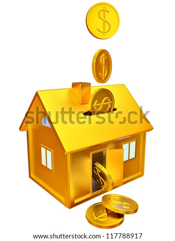 dollar coins falling down into a piggy bank in the form of a gilded house as a symbol of the accumulation