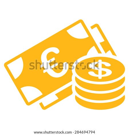 Dollar coins from BiColor Euro Banking Icon Set. Glyph style: flat, yellow symbol, rounded angles, white background. - stock photo