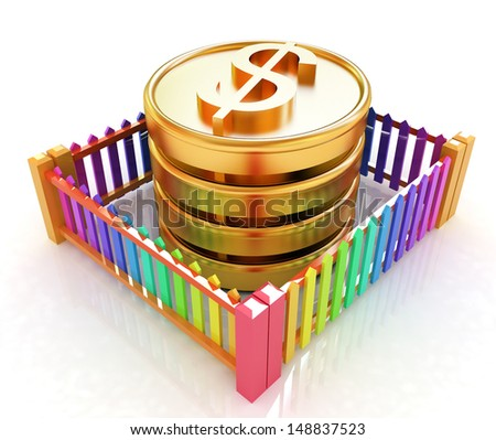 Dollar coins in closed colorfull fence concept illustration