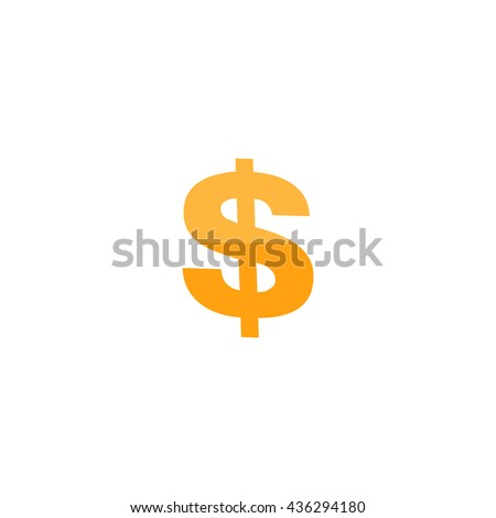 Dollar. Color simple flat icon on white background
