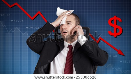 Dollar crisis, currency collapse. Broker holding forehead - stock photo