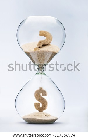 Dollar crisis. Dollar sign made out of falling sand from question mark flowing through hourglass - stock photo