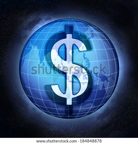 Dollar currency business in Asian countries concept illustration - stock photo