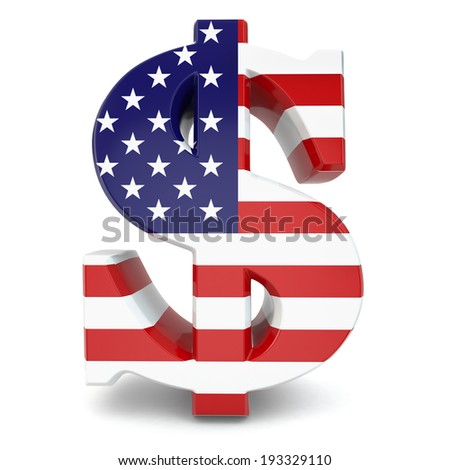 Dollar currency sign and USA flag. 3d - stock photo
