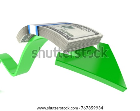 Dollar currency with green arrow isolated on white background. 3d illustration