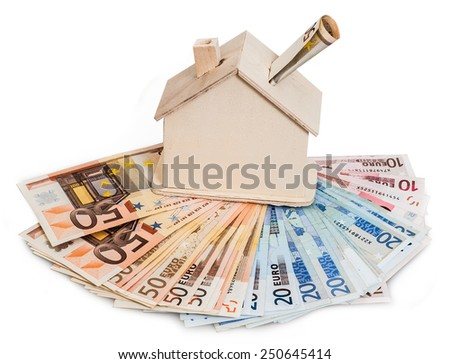 dollar ,euro and a wooden house model - stock photo