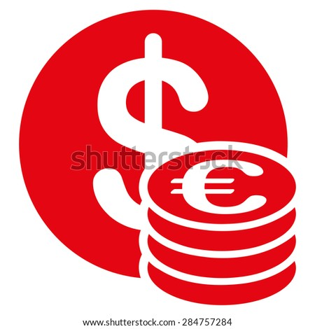 Dollar euro coins from BiColor Euro Banking Icon Set. Glyph style: flat, red symbol, rounded angles, white background. - stock photo