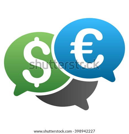 Dollar Euro Financial Forum glyph toolbar icon for software design. Style is a gradient icon symbol on a white background.